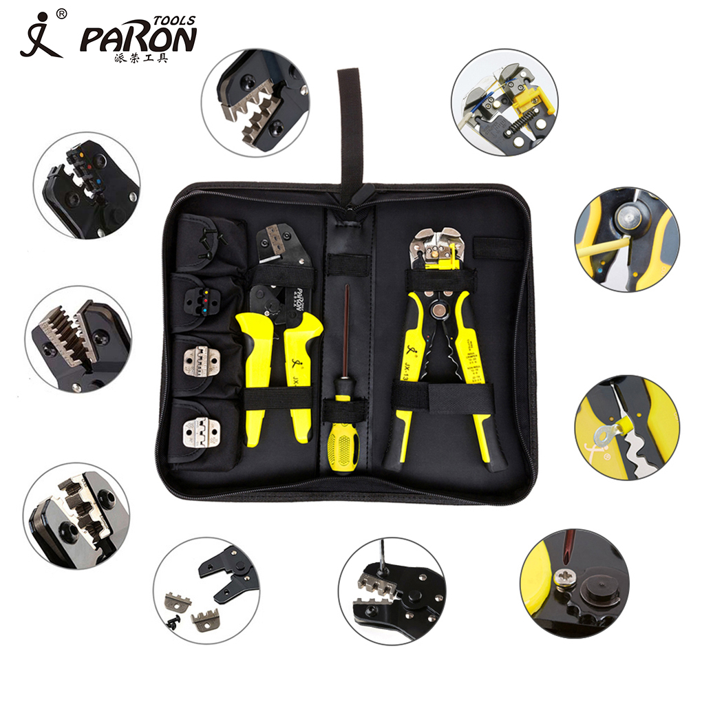 4 In 1 Wire Crimper Hand Tools Kit Engineering Ratchet Terminal Crimping Plier Wire Crimper + Wire Stripper+S2 Screwdiver toozo terminal crimping tool bootlace ferrule crimper wire end cord pliers 0 25 6 square millimeter