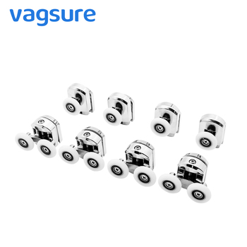 Vagsure 4pcs-8pcs/set double top+Single Bottom Zinc-Alloy Sliding Shower Cabin Pulley Wheel Runner Door Rollers Replacement shower room roller cabins up and down single wheel nylon bouncing wheel bathroom glass sliding door pulley