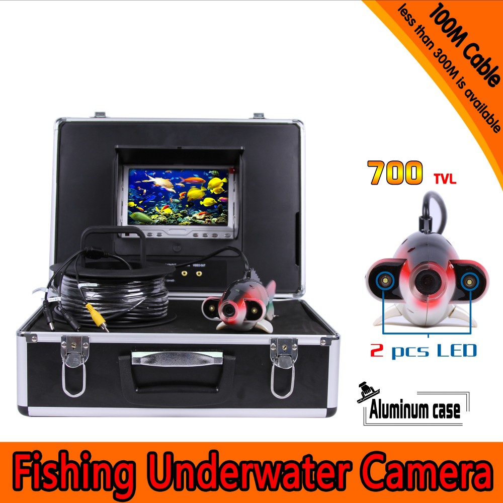 Fish Shape Underwater <font><b>Fishing</b></font> <font><b>Camera</b></font> Kit with 100Meters Depth Cable & 7Inch TFT LCD Monitor & Hard Plastics Case