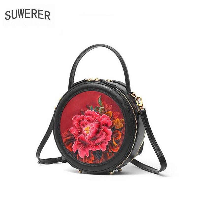 SUWERER 2019 Nuovo Delle Donne Del Cuoio Genuino borse di lusso delle donne delle borse del progettista del sacchetto di mucca In Rilievo Rotonda borsa di cuoio delle donne del sacchetto di spalla - 6