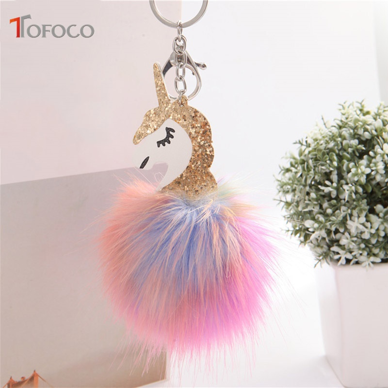 TOFOCO New Fluffy Unicorn Toy Keychain Pendant Cute Pompom Artificial Rabbit Fur Doll For Bag Car Xmas Valentine Gift