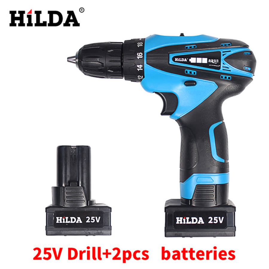 25V Cordless Screwdriver Electric Drill Two-Speed Rechargeable 2 pcs Lithium Batteries Waterproof Drill LED Light 25v cordless drill electric two speed rechargeable 2pcs lithium battery waterproof drill led light