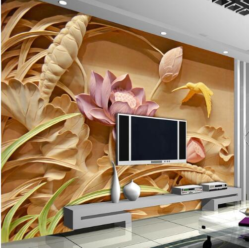 Custom 3D Printing Imitation Wood Carving Lotus Mural Chinese Style 3D Large Murals Living Room TV Backdrop Wall Art Wallpaper  free shipping 3d stereo basketball star imitation wood wallpaper mural decorating stadium living room cafe custom mural