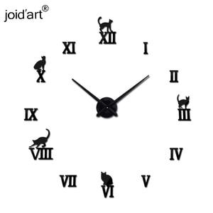 Настенные акриловые зеркальные часы с римским котом, большие кварцевые часы, большие декоративные часы для гостиной в европейском стиле, Ли...