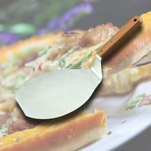 купить Stainless Steel Pizza Shovel Pizza Steak Pancake Barbecue Plate Cake Blade Solid Wood Handle Round Shovel по цене 723.32 рублей