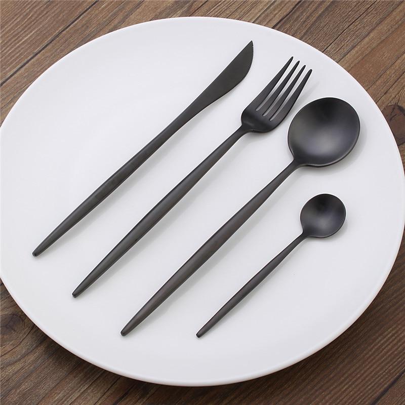 HOT!!!European Black Stainless Steel Luxury Matte Scoop Fork Knife Cutlery Set Dinnerware Tableware Best Gift