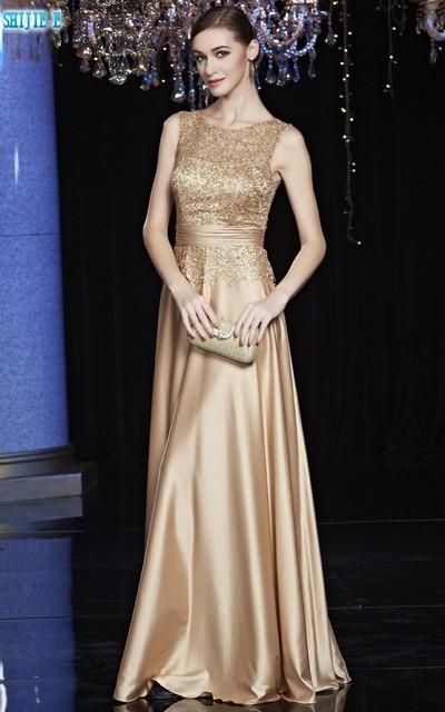 Gold Elegant Long Evening Dress Scoop Sleeveless A Line Floor Length Long  Evening Dress Sequin Satin Evening Dresses 8640ca6005e2
