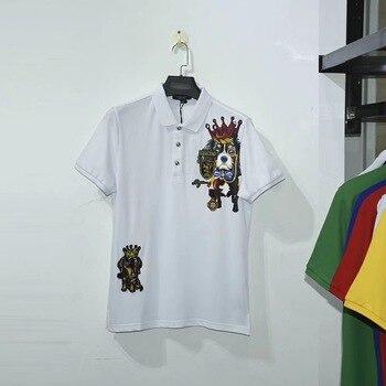 32ce4b26130 2019 знаменитый итальянский мужская одежда бренд мужские поло мужская  летняя рубашка хлопок ralphlauren короткий рукав собака пчела белый черный