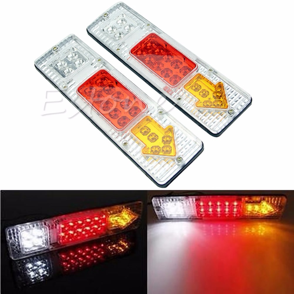 1 Pair Car Styling 12V LED TRUCK TRAILER CARAVAN VAN REAR TAIL STOP REVERSE LIGHT INDICATOR LAMP