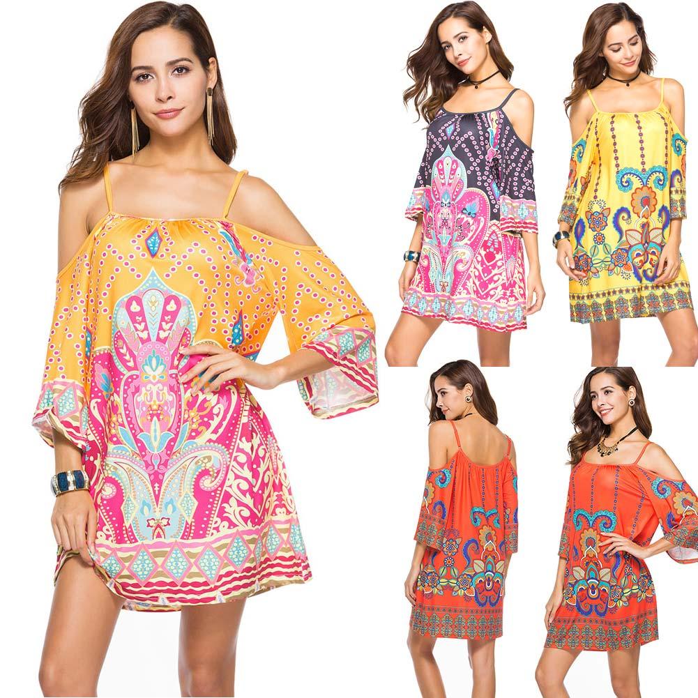 Women Floral Print Short Dress Off Shoulder Strap Summer Beach Party Dresses -MX8