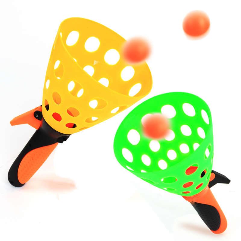 1 Set Kids Sport Toy (2 Rackets 2 Balls) Family Game Interactive Toys Fun Indoor Outdoor Games Safety Shoot Balls and Catch Play