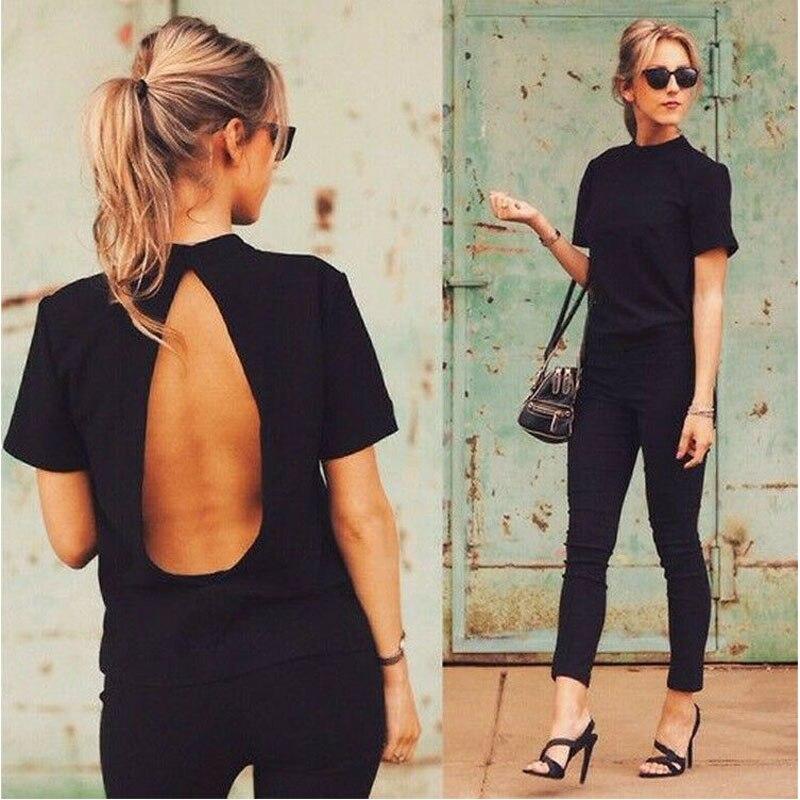 2019 New Fashion   Shirts   Women Casual Cool Slim Tops Open Back   T     shirt   Sexy Short Sleeve LooseTees Summer Black Cotton   T  -  shirt
