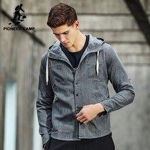 Pioneer camp novo projeto do hoodie homens da camisa marca-clothing fashion denim camisa masculina camisas casuais de alta qualidade sólida acc701028(China (Mainland))