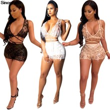 90dacaf3a38 Women Sexy Bandage Bra Crop Tops Short Pants Two Piece Set 2019 Beadings  Pearls Feather Plaid Jumpsuits Clubwear 2 Piece Outfits