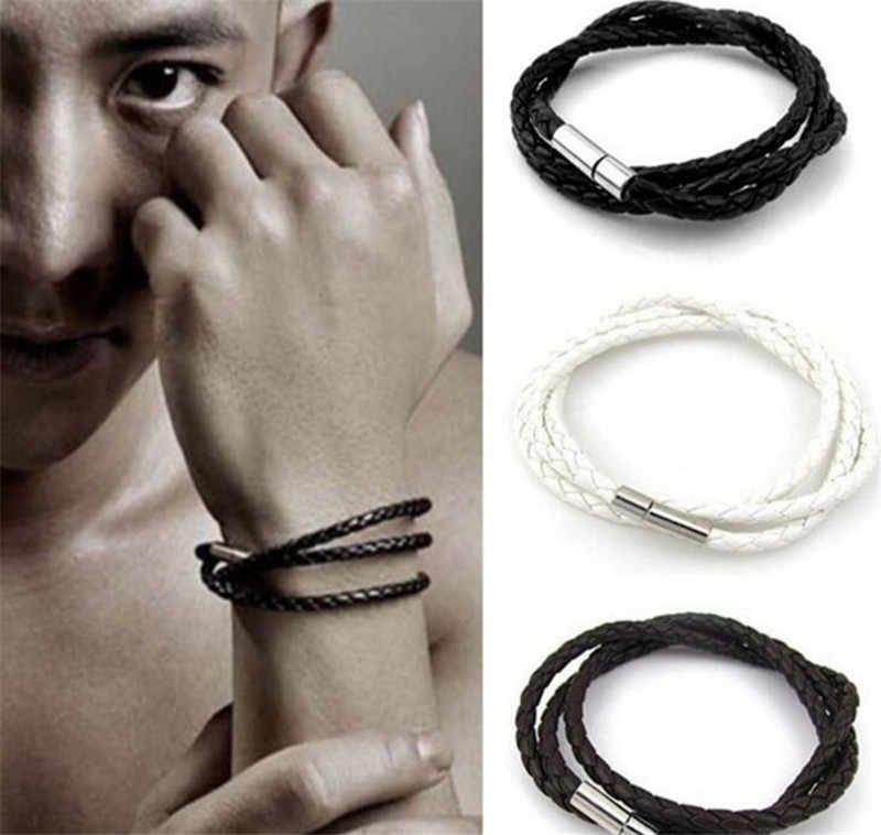 Hot Summer Fashion Women Men Creative Weave Leather Bracelet Simple Couple Ladies Boys Bangle Hand Jewelry Punk Couple Bracelet