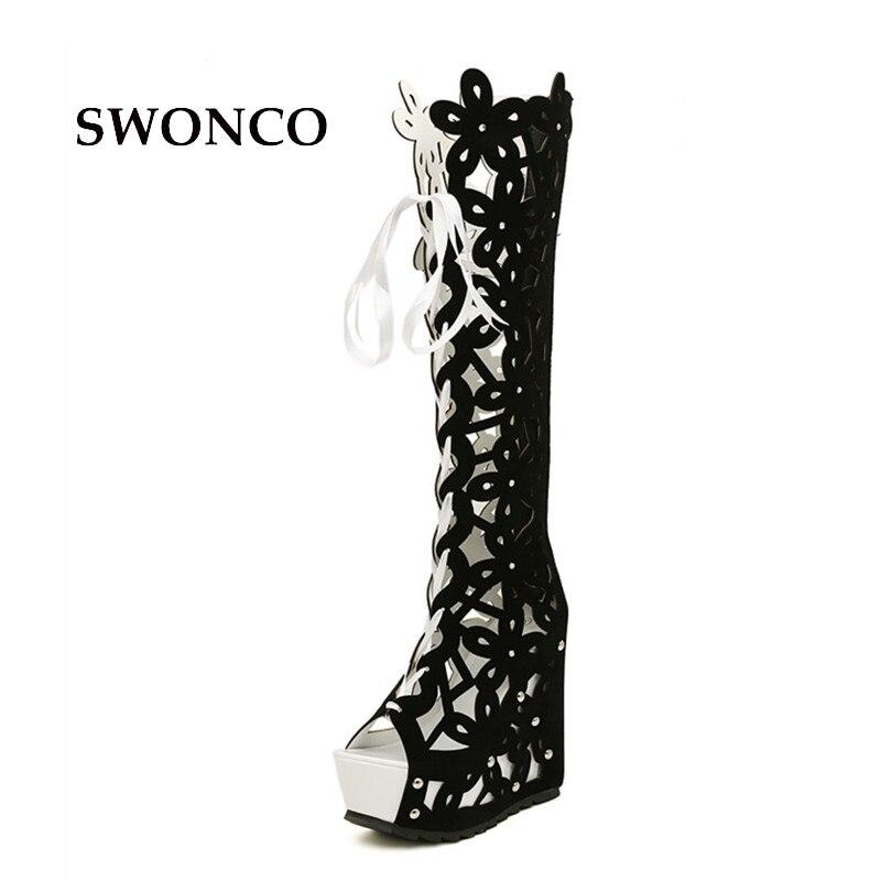 49c456ba8 Swonco Verano Estilo Mujeres Mujer Romano Fuera Blusas Zapatos Para Botas  white Gladiador Sandalias Hacia Tacón ...