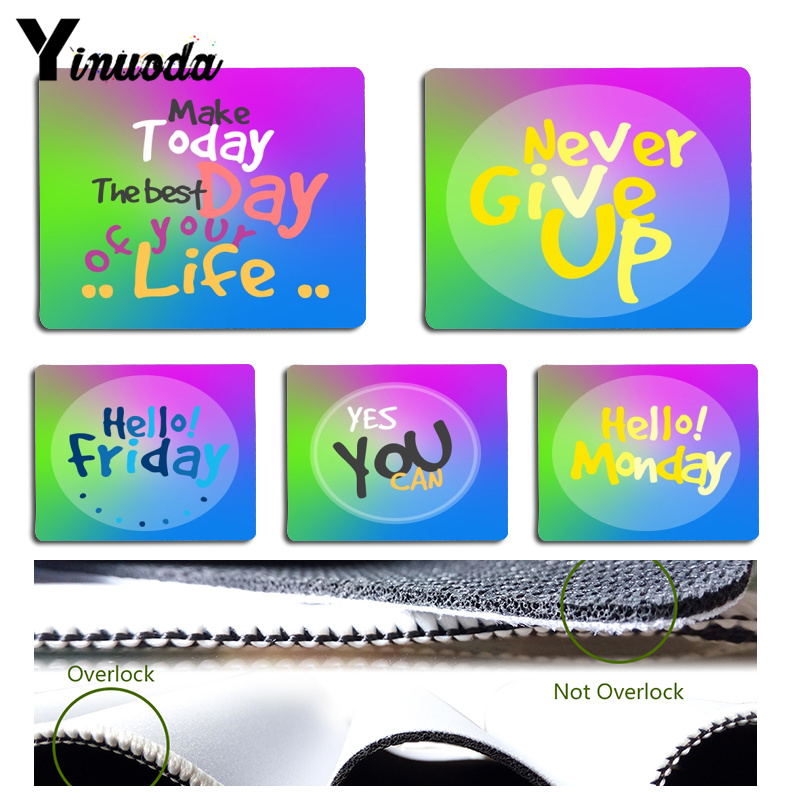 Yinuoda New Designs Inspirational motto never give up Computer Gaming Mousemats Size for 18x22cm 25x29cm Small Mousepad