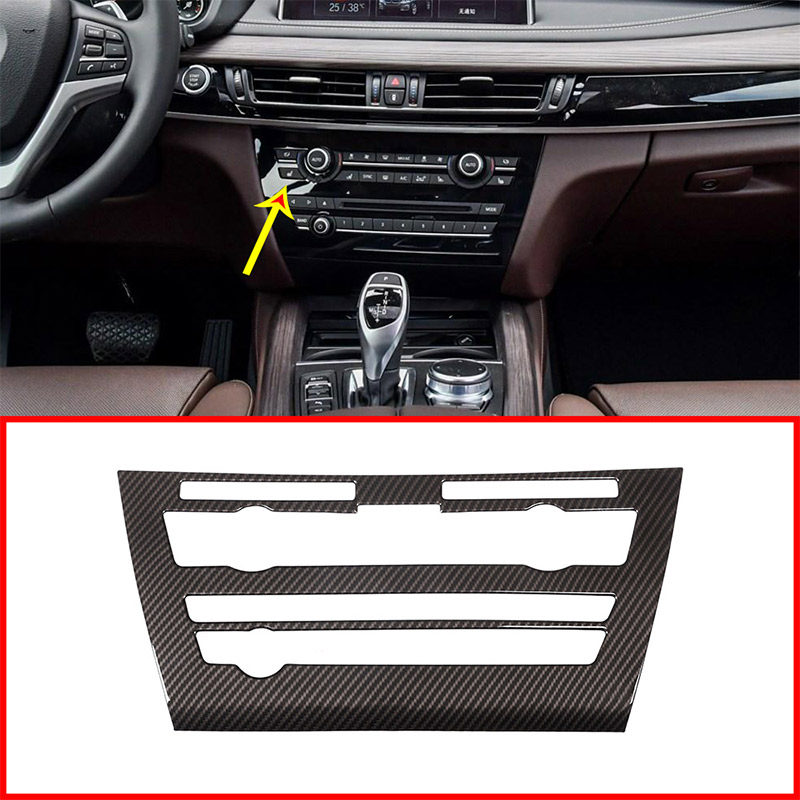 Carbon fiber Style ABS Car Center Console Volume Air Conditioning Vent Frame Panel Trim For BMW X5 F15 2014-2018 AccessoriesCarbon fiber Style ABS Car Center Console Volume Air Conditioning Vent Frame Panel Trim For BMW X5 F15 2014-2018 Accessories