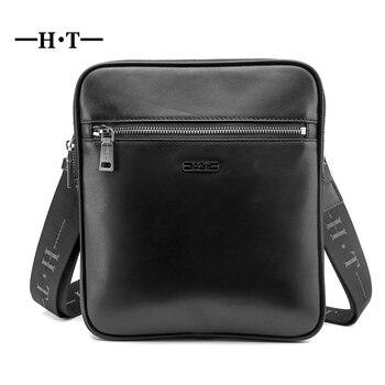6e8c5301db4b HT натуральной кожи курьерские сумки мужские плеча Crossbody сумка Мужская  Роскошные Фирменная Новинка Письмо Слинг Bolsos черный карманы