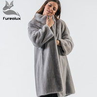 Furealux Real Mink Fur Jacket Stand Collar Natural Mink Coats Real Fur For Jacket Women luxury Coats Outerwear lady