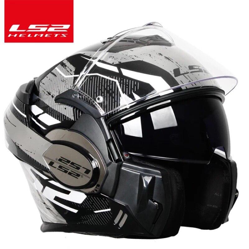 2018 vaillant LS2 FF399 casque de moto intégral flip up double visière authentique porter des lunettes conception ECE cascos de motos nouveau MODE