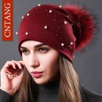 CNTANG 2017 Women's Fashion Hat Autumn Winter Rhinestones Pearl Hats Female Beanies Natural Raccoon Fur Pompom Cotton Warm Caps