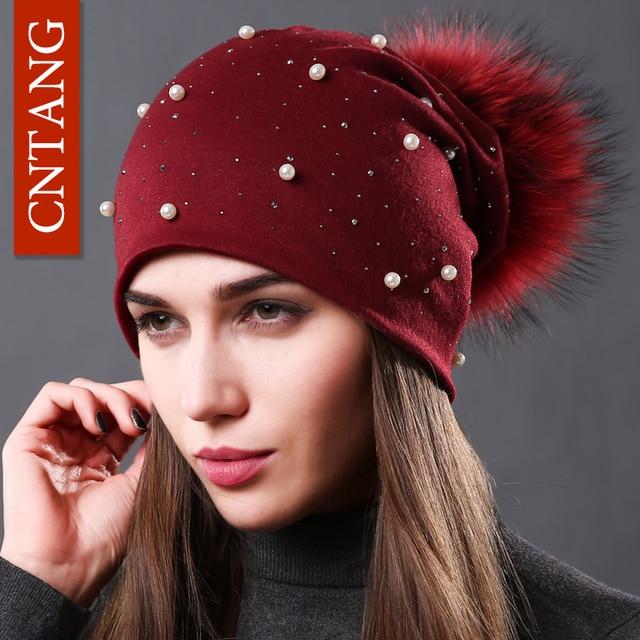CNTANG 2018 Women's Fashion Hat Autumn Winter Rhinestones Pearl Hats Female Beanies Natural Raccoon Fur Pompom Cotton Warm Caps