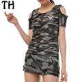 2016 Off Shoulder Elastic Embroidery Camouflage T Shirt OR Army Skirt Style Summer Shorts Women Tracksuits Clothing Sets #161064
