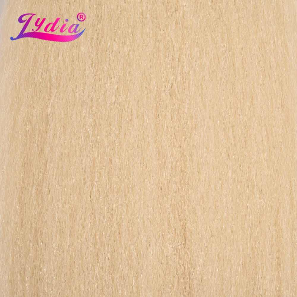 Lydia 1PCS/Pack Kinky Straight Weaving 10-24 Inch Pure Color Synthetic Wave  Hair Extension For Women Blond 613#