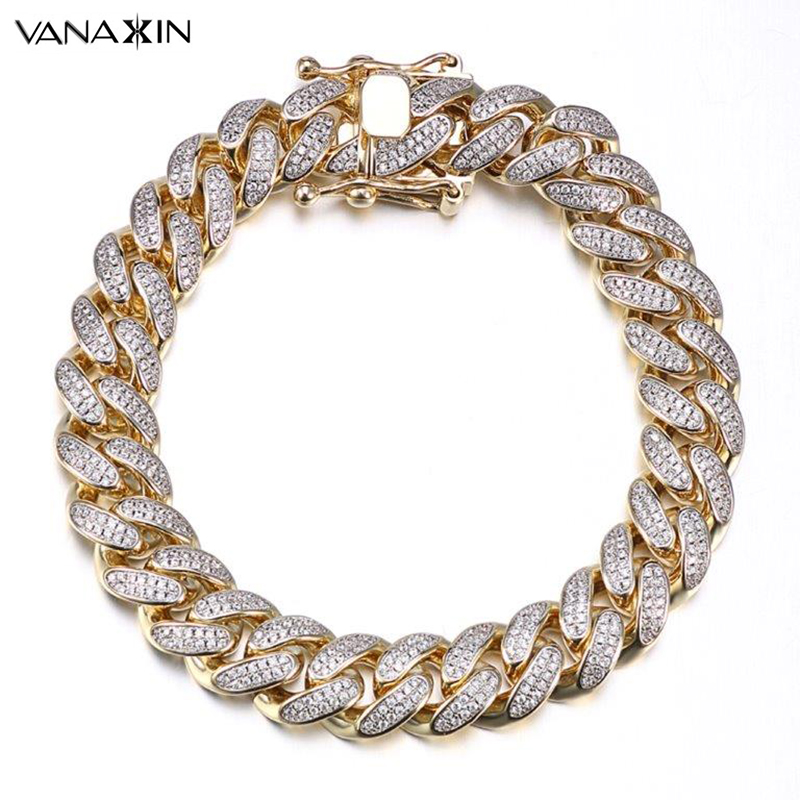 VANAXIN Mens Bracelet Hiphop Cuba Chain Men AAA Zicons Stone Jewelry Full Paved Top Quality Bracelets For Men Bling Bling Gift vanaxin mens bracelets chain brass cubic zirconia silver color male bracelets cuba chian wholesale vintage punk jewelry gift box