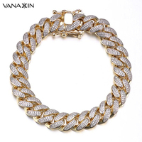 VANAXIN Mens Bracelet Hiphop Cuba Chain Men AAA Zicons Stone Jewelry Full Paved Top Quality Bracelets For Men Bling Bling Gift
