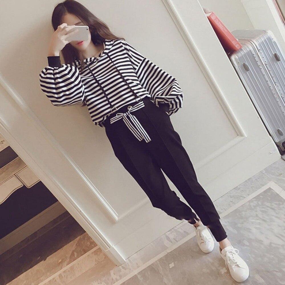 Autumn hooded sweatshirt women striped hoodies harem pants 2 piece set Casual long sleeve sportswear outfit female clothing 2018