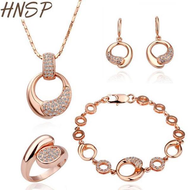 HNSP Top de Luxo Strass Banhado A Ouro de Casamento conjuntos De jóias de Noiva para As Mulheres Nova Moda Feminina Jóias S063