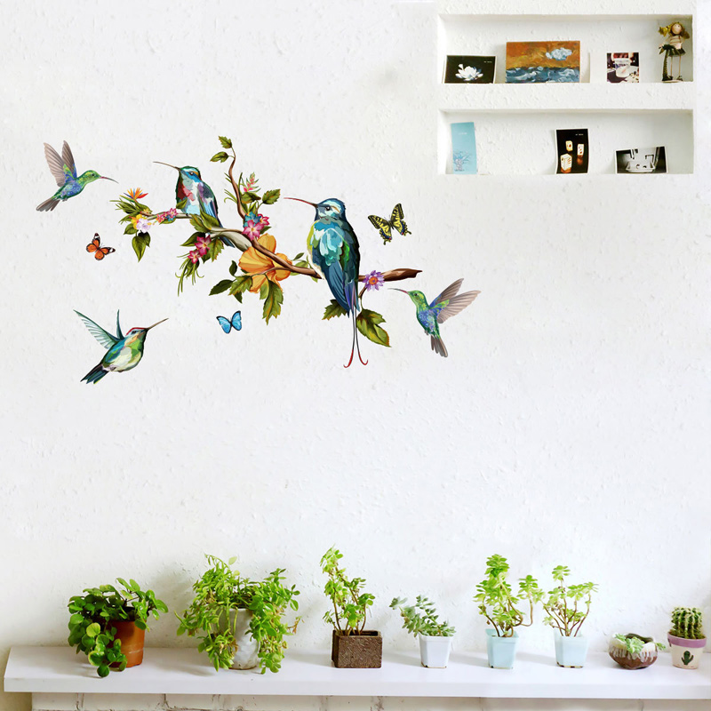 Multicolor Butterflies And Birds Flying Wall Sticker Living Room Bedroom Decorations Wallpaper Mural Removable Stickers