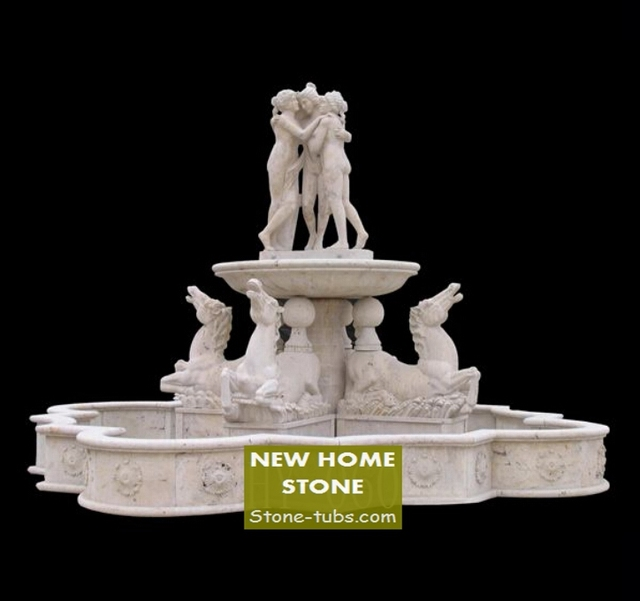 Outdoor Stone Water Fountains World Class Art Horses Statues U0026 Women Statue  White Marble Fountains With
