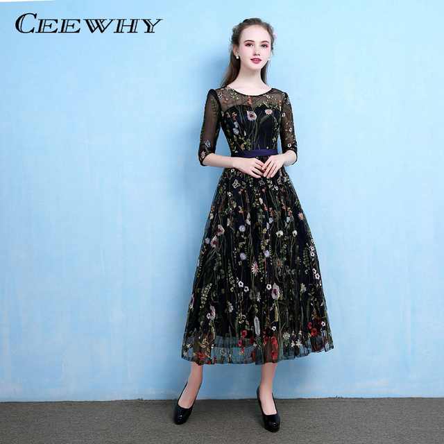 CEEWHY Floral Embroidery Formal Dress Luxury Prom Dress Vintage Abiye Gece  Elbisesi Evening Dress Half Sleeves Abendkleider 9f3188052077