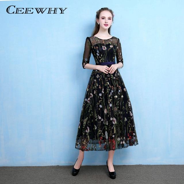 a7cbf4c695633 CEEWHY Çiçek Nakış Resmi Elbise Lüks Balo Elbise Eski Abiye Gece Elbisesi  Abiye Elbise Yarım Kollu