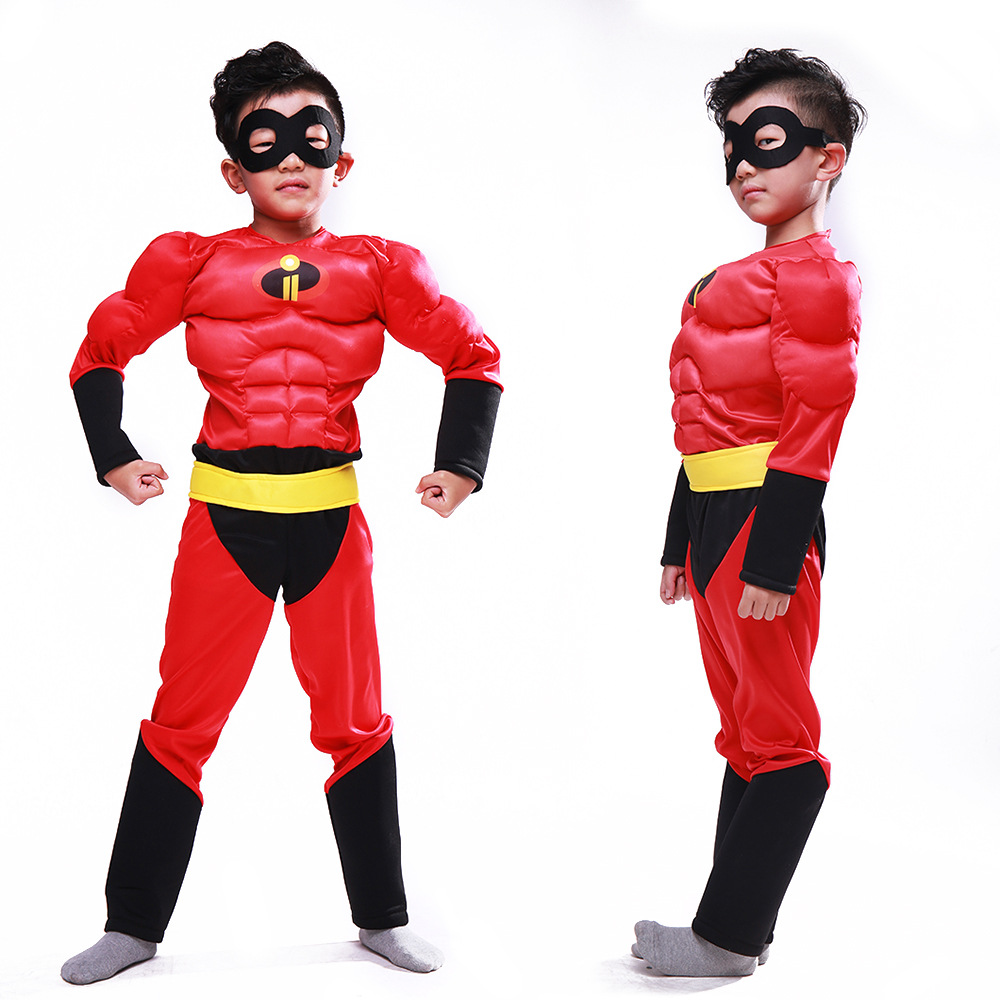 Kids The Incredibles 2 Cosplay Costumes Muscle Superhero Bodysuits Boys Halloween Ball Show Costumes
