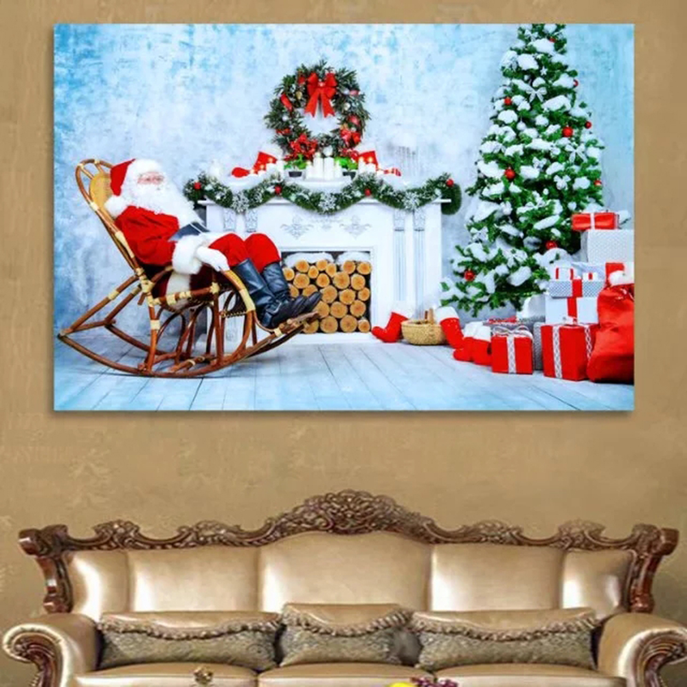Canvas Painting Christmas Decorations For Home Pictures Classical Santa Claus Gift Print Painting Wall Art Poster Home Decor