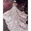 Великолепный Розовый С Плеча V-образным Вырезом Спинки Бальное платье Свадебные Платья с Белыми Аппликациями Царский Поезд Органзы Свадебные Платья