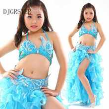 Kids belly dance costumes child Belly Dancing Girls Bollywood Indian Performance Cloth Whole 3 Pieces/Set 6 Colors New Handmade