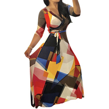 Пикантные женская одежда Boho Макси платье с коротким и широким подолом Половина рукавом печати туника модные события халат Vestidos Летний пляж плюс Размеры длинное платье