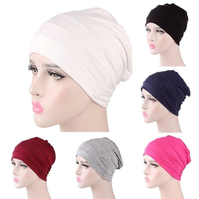 aacd16e2839 Women Cotton Breathe Hat New Women s Turban Elastic Cloth Head Cap Hat  Ladies Hair Accessories Muslim Scarf Cap