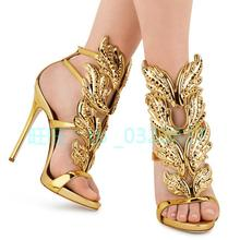 Hot Sale Brand High Heeled Shoes Fashion Women's Sandals Design Gold Leaves Embellished Pumps Ladies Winged Sandal Shoes