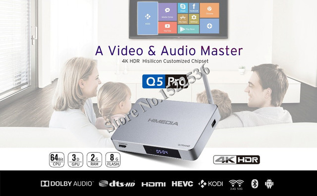 2016 Hot 4K HDR Android TV Box Himedia Q5 Pro Android Box Kodi 16.0 Google Android 5.1 Smart TV Box,Free/fast shipment