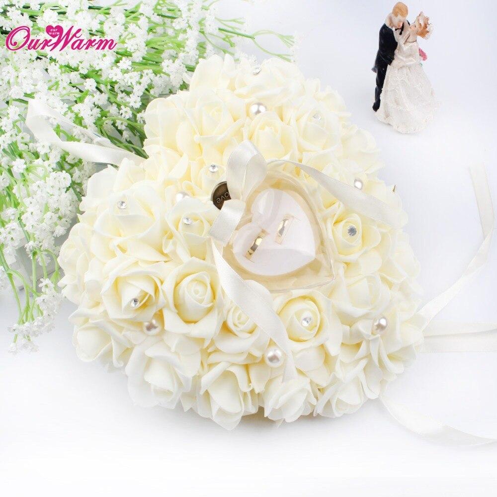 OurWarm Wedding Decoration Romantic Wedding Ring Pillow Hanging ...
