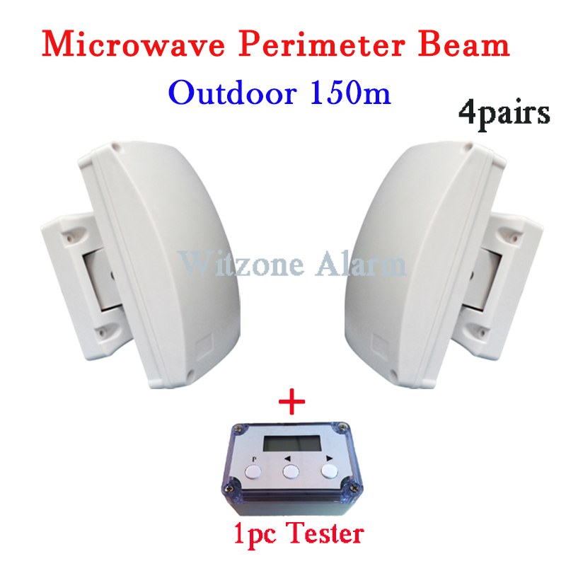 4pairs Focus Outdoor 150meters Perimeter Curtain-Beam Detector Alarm System with LCD Tester for Home Security Safety 1pair outdoor 150 meters wired microwave perimeter barrier beam with lcd tester free shipping
