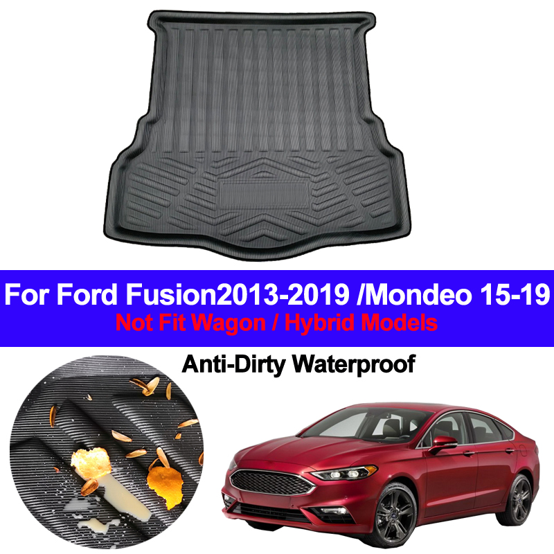 Auto Rear Boot Cargo Liner Tray Trunk Luggage Floor Carpet Mat Carpets Pad For Ford Fusion 2013 - 2017 2018 2019 Mondeo 2015-19