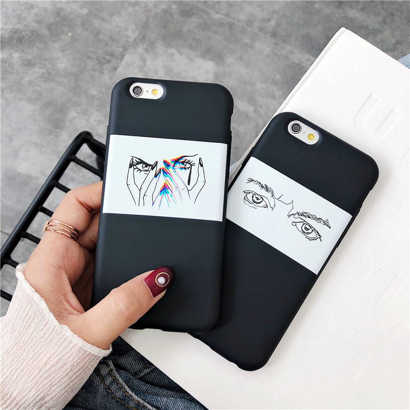 For iphone 7 Cases Personality Eye Finger For iphone 7 6 6S 8 Plus X Case Couple Art pattern Soft Silicone Fundas Coque Cover