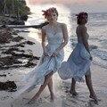 2017 элегантный длинные boho свадебные платья милая аппликация кружева голубой шифон beach Свадебное Платье для свадьбы